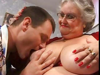 bulky grandma in red with large bumpers receives