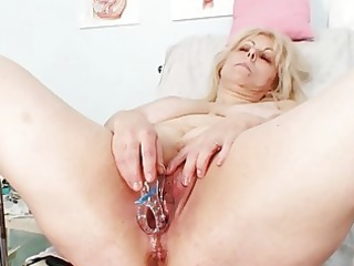 lustful blond aged lady at gyno exam