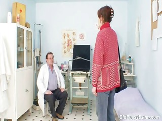 unpretty aged wife at pervy gyno doctor