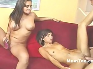 large tit mother and skinny daughter screwed on a