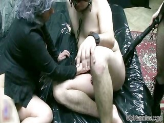 old woman goes crazy jerking and sucking part9