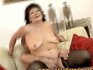 old granny riding pounder with a fake penis in